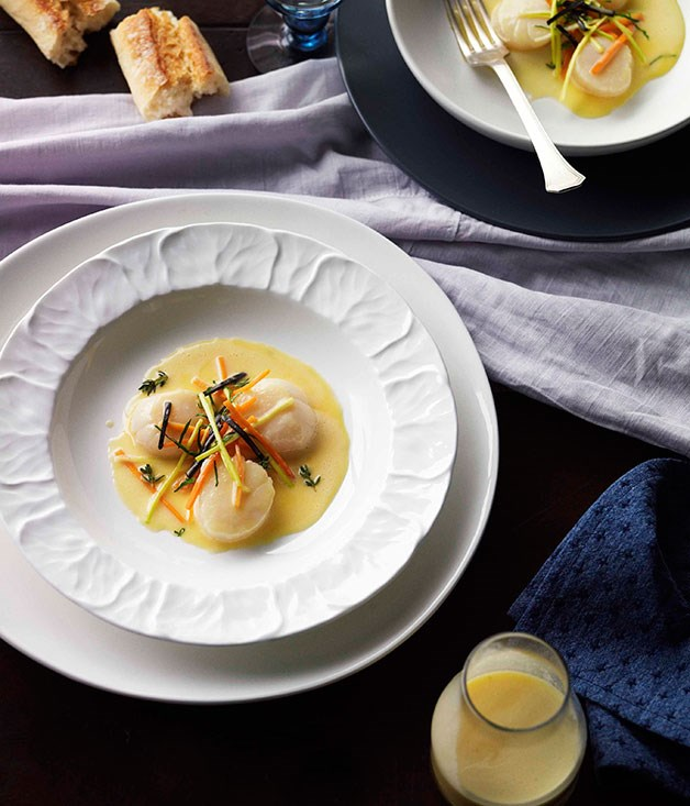**Scallops poached with Noilly Prat** **Scallops poached with Noilly Prat**    [View Recipe](http://www.gourmettraveller.com.au/tony-bilson-scallops-poached-with-noilly-prat.htm)     PHOTOGRAPH **CHRIS CHEN**