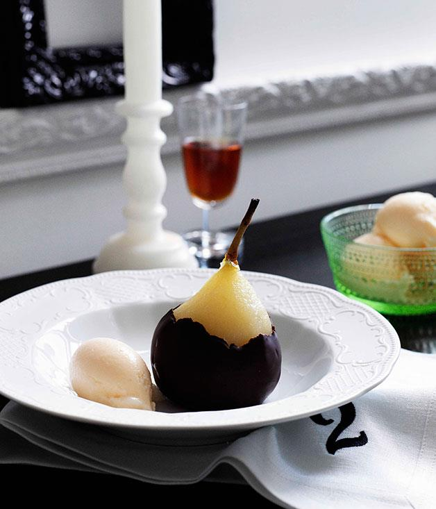 **Poached pears with Gorgonzola dolcelatte gelato** **Poached pears with Gorgonzola dolcelatte gelato**    [View Recipe](http://www.gourmettraveller.com.au/poached-pears-with-gorgonzola-dolcelatte-gelato.htm)     PHOTOGRAPH **BEN DEARNLEY**