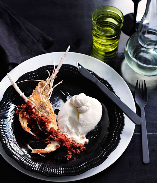 Scampi with burrata and 'nduja