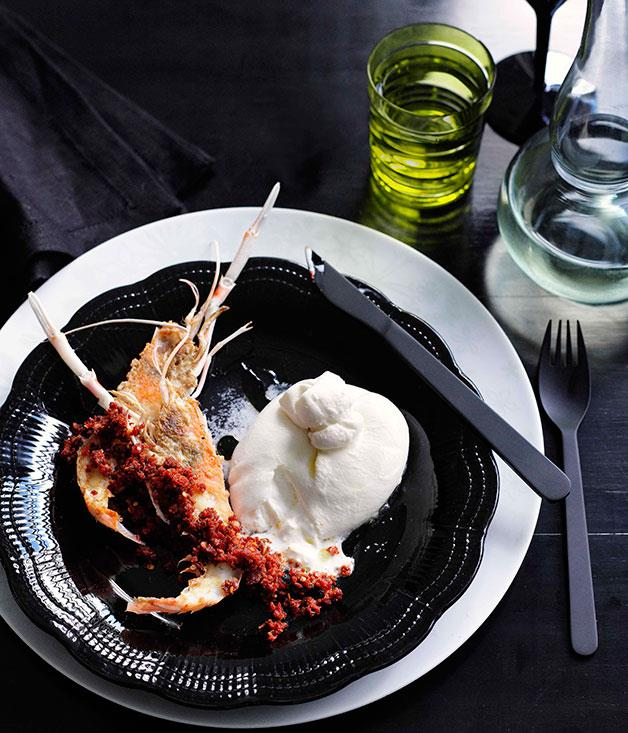 **Scampi with burrata and 'nduja** **Scampi with burrata and 'nduja**    [View Recipe](http://gourmettraveller.com.au/scampi-with-burrata-and-nduja.htm)     PHOTOGRAPH **BEN DEARNLEY**