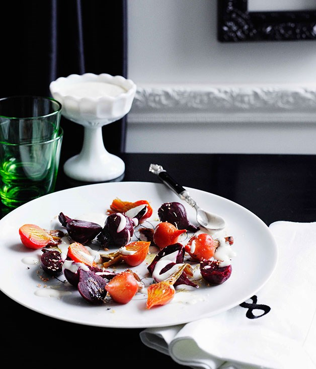 **Beetroot salad with yoghurt and oregano dressing** **Beetroot salad with yoghurt and oregano dressing**    [View Recipe](http://gourmettraveller.com.au/beetroot-salad-with-yoghurt-and-oregano-dressing.htm)     PHOTOGRAPH **BEN DEARNLEY**