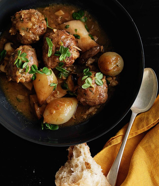 Shane Delia: Braised duck and chestnut kofta with king brown mushrooms