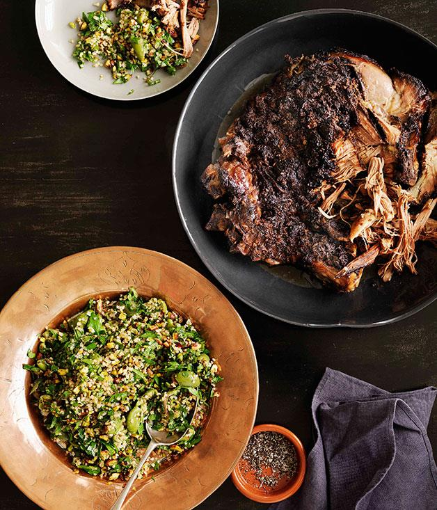 "[**12-hour roast lamb with pistachio and green-olive tabbouleh**](http://www.gourmettraveller.com.au/shane-delia-12-hour-roast-lamb-with-pistachio-and-green-olive-tabbouleh.htm|target=""_blank"")"