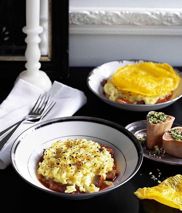 **Saffron risotto with osso buco and gremolata** **Saffron risotto with osso buco and gremolata**    [View Recipe](http://gourmettraveller.com.au/saffron-risotto-with-osso-buco-and-gremolata.htm)     PHOTOGRAPH **BEN DEARNLEY**