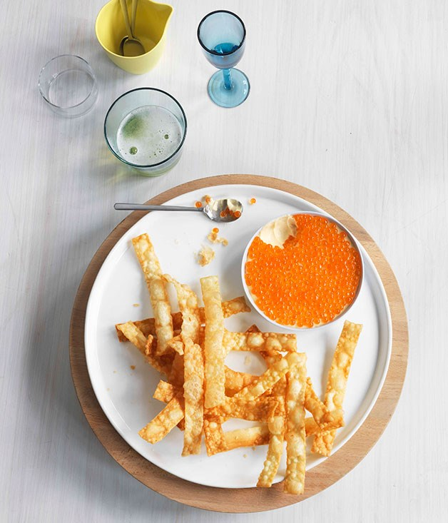 Salmon roe mayonnaise with fried homemade filo pastries