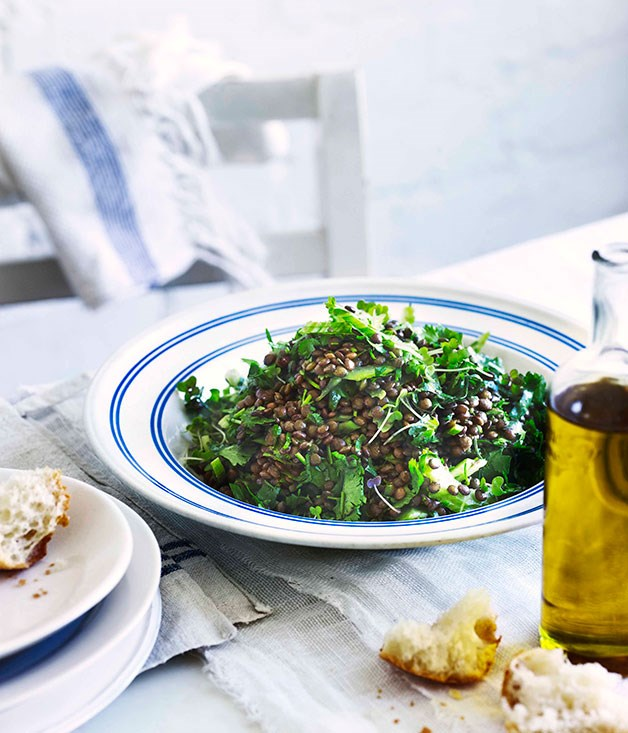 "[**Lentil and coriander salad**](https://www.gourmettraveller.com.au/recipes/chefs-recipes/george-calombaris-lentil-and-coriander-salad-7628|target=""_blank"") <br><br>"