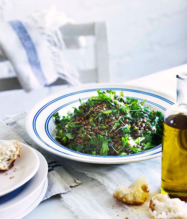 """[**Lentil and coriander salad**](https://www.gourmettraveller.com.au/recipes/chefs-recipes/george-calombaris-lentil-and-coriander-salad-7628
