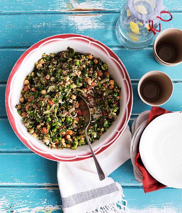 Quinoa, celery heart and pea tabouli