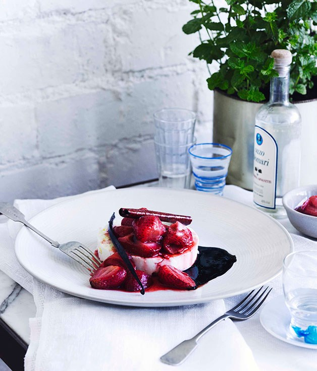 "[**Warm manouri with strawberry glyko**](https://www.gourmettraveller.com.au/recipes/chefs-recipes/george-calombaris-warm-manouri-with-strawberry-glyko-7645|target=""_blank"") <br><br>"