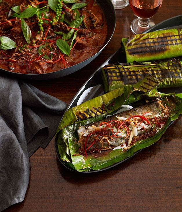 **Grilled rainbow trout fillets with curry paste, young coconut and lime leaves** **Grilled rainbow trout fillets with curry paste, young coconut and lime leaves**    [View Recipe](http://gourmettraveller.com.au/martin-boetz-grilled-rainbow-trout-fillets-with-curry-paste-young-coconut-and-lime-leaves.htm)     PHOTOGRAPH **CHRIS CHEN**
