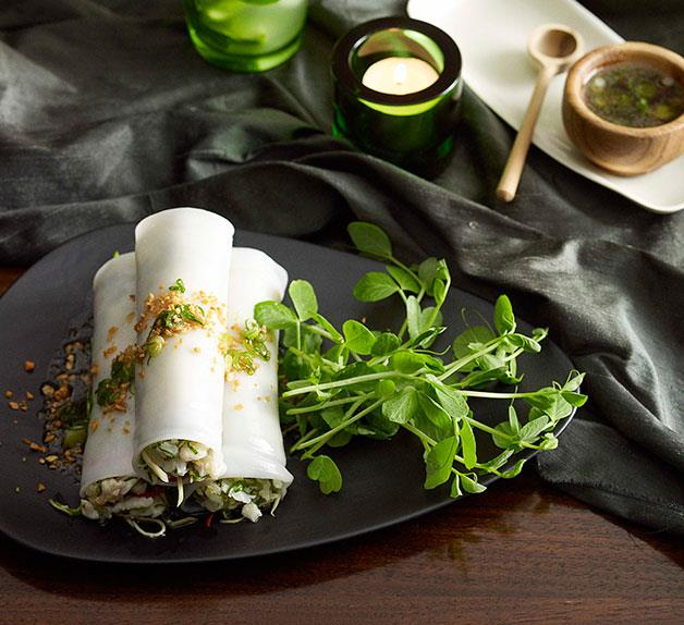 Martin Boetz: Steamed noodle rolls with crab, ginger and spring onion