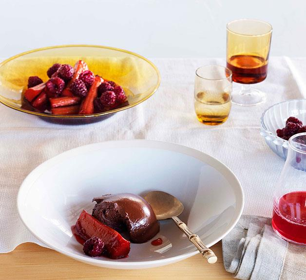 Mark Best: Chocolate chantilly with raspberry-poached rhubarb