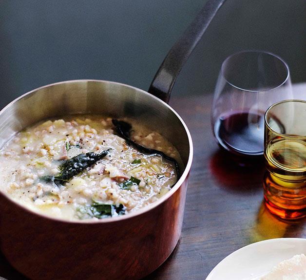 Brigitte Hafner: Farro, potato and pancetta soup