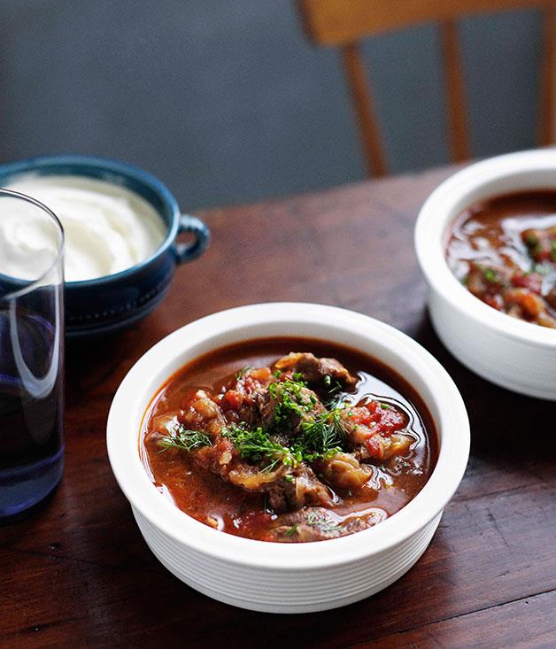 "**[Brigitte Hafner: My dad's goulash, my way](https://www.gourmettraveller.com.au/recipes/chefs-recipes/brigitte-hafner-my-dads-goulash-my-way-7392|target=""_blank""|rel=""nofollow"")**"