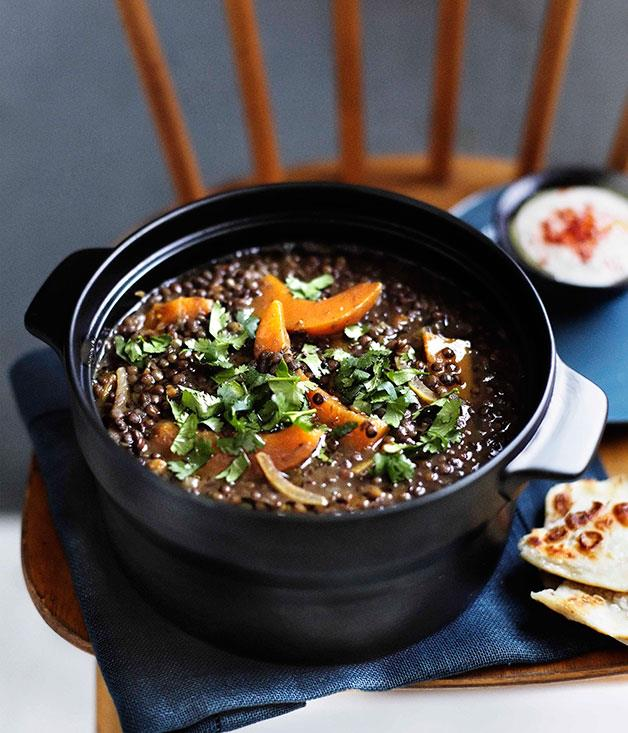 """**[Green lentil soup with pumpkin and harissa](https://www.gourmettraveller.com.au/recipes/chefs-recipes/brigitte-hafner-green-lentil-soup-with-pumpkin-and-harissa-7393