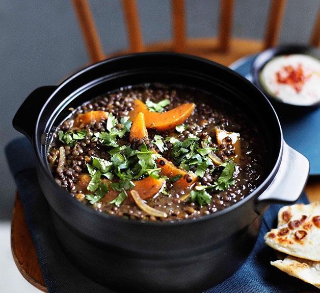 Brigitte Hafner: Green lentil soup with pumpkin and harissa
