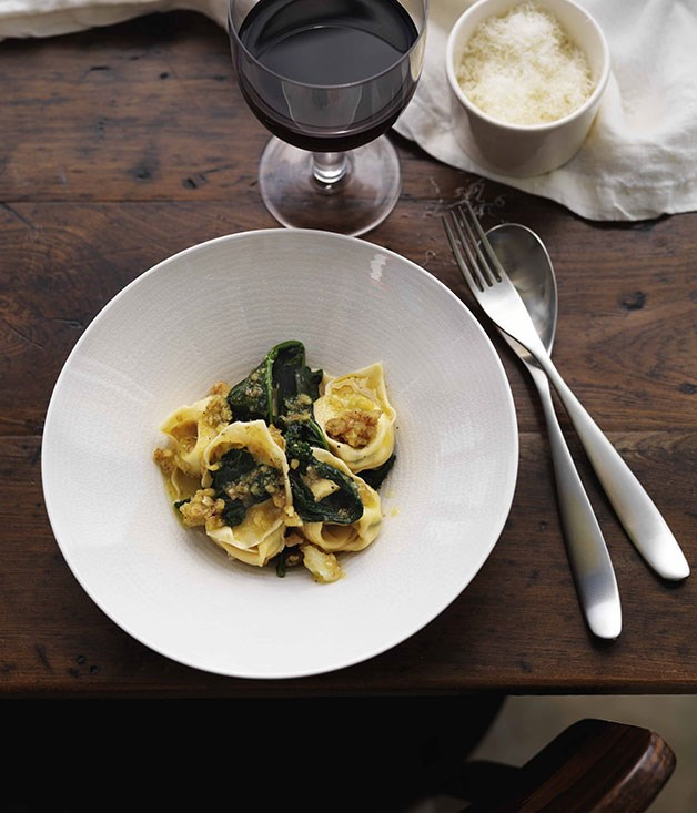 James Hird and Todd Garratt: Pansotti with cime di rapa and salsa di noce (ravioli with cime di rapa and walnut sauce)