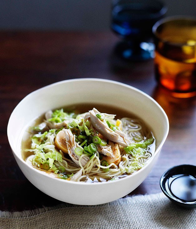 "**[Chinese-style chicken noodle soup](https://www.gourmettraveller.com.au/recipes/chefs-recipes/brigitte-hafner-chicken-noodle-soup-7403|target=""_blank"")**"