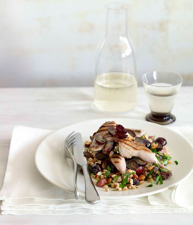 Char-grilled quail, farro and prosciutto salad