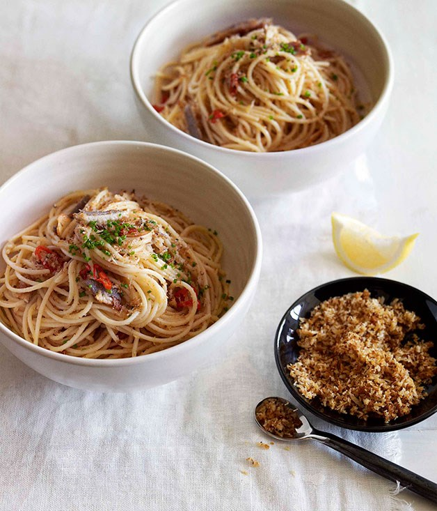 Spaghettini with smoked eel, garlic, chilli and pangrattato