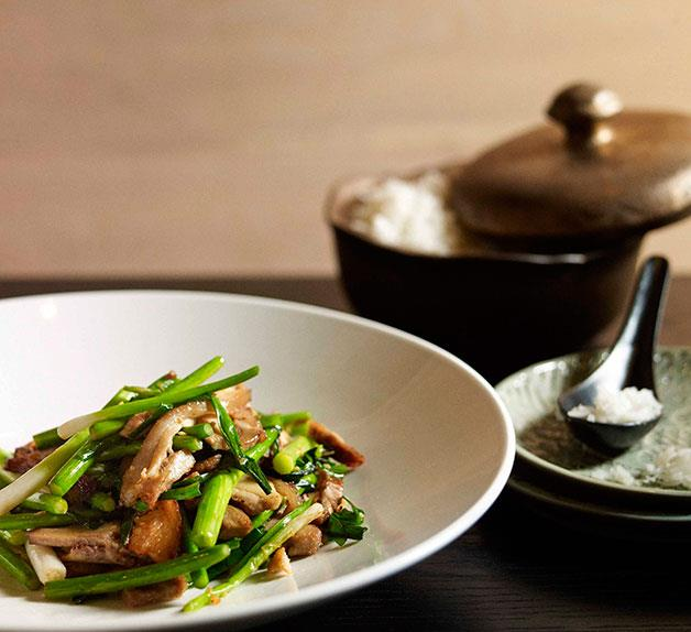 Neil Perry: Stir-fried salt pork with garlic chives and garlic stems