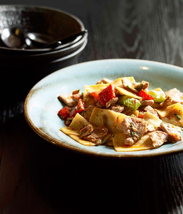 Neil Perry: Cat's ear noodles with peppers and chilli sauce
