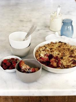 Peach, raspberry and almond crumble