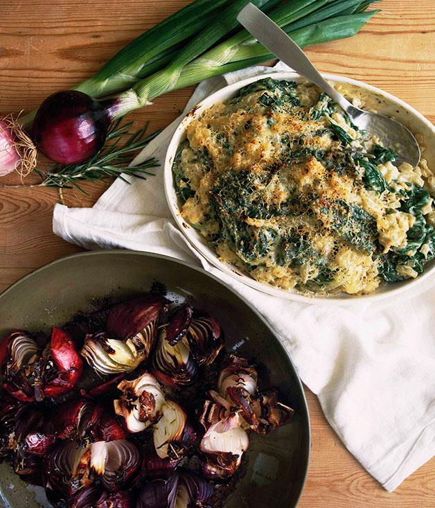 "**[The Agrarian Kitchen's silverbeet gratin](https://www.gourmettraveller.com.au/recipes/chefs-recipes/silverbeet-gratin-7472|target=""_blank"")**"