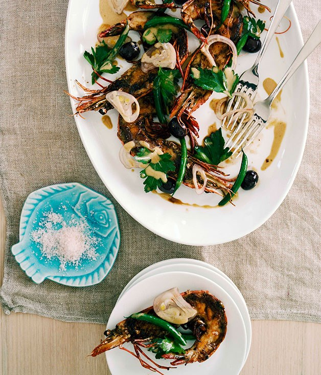Grilled tiger prawns with Ortiz anchovies