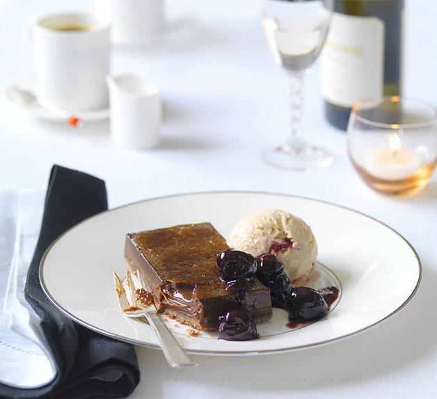 Chocolate brûlée tart with cherry parfait