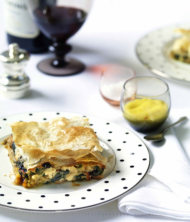 "**[George Calombaris' rabbit 'spanakopita'](https://www.gourmettraveller.com.au/recipes/chefs-recipes/rabbit-spanakopita-7160|target=""_blank"")**"