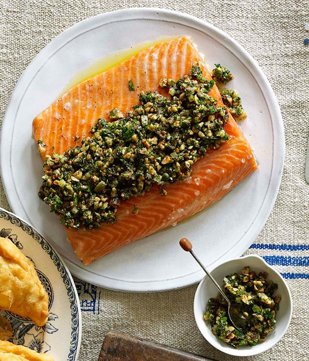 """**[Slow-roasted ocean trout with walnut and coriander salsa](https://www.gourmettraveller.com.au/recipes/chefs-recipes/slow-roasted-ocean-trout-with-walnut-and-coriander-salsa-7178