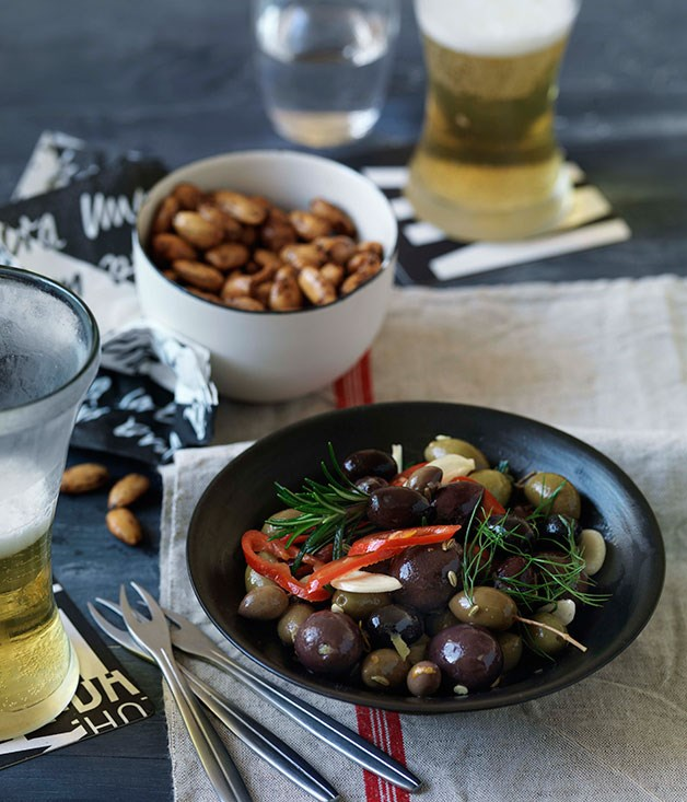 Marinated olives (bottom)