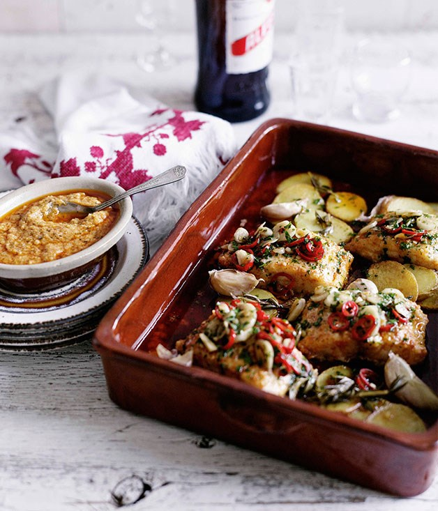 Salt cod a la llauna with rosemary potatoes and romesco