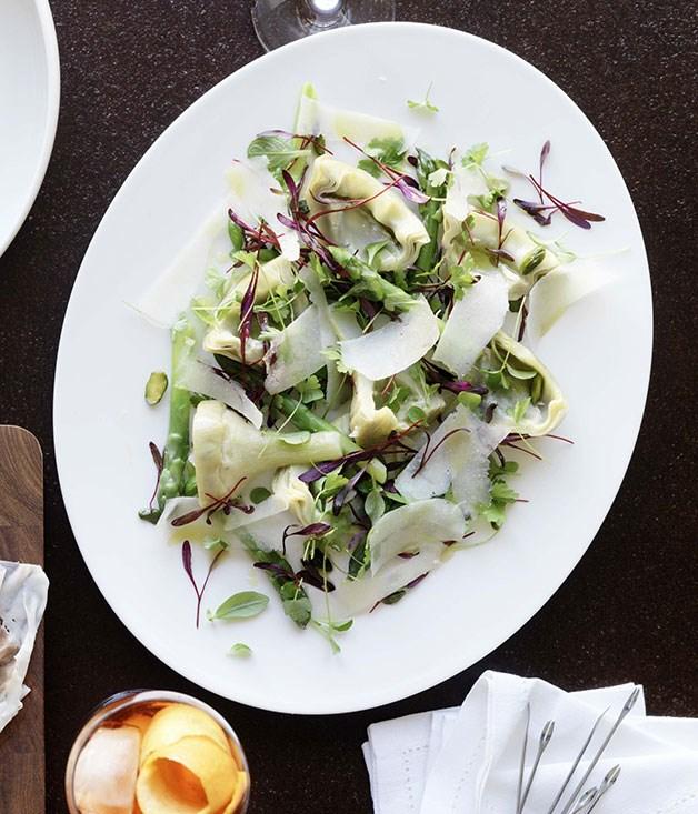 Braised artichokes with asparagus and pecorino