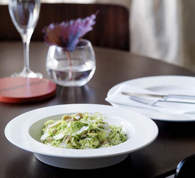 Shaved Brussels sprouts with walnuts, lemon and parmesan