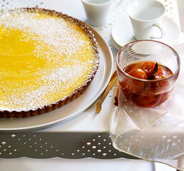 Gin and lime tart with confit cumquats