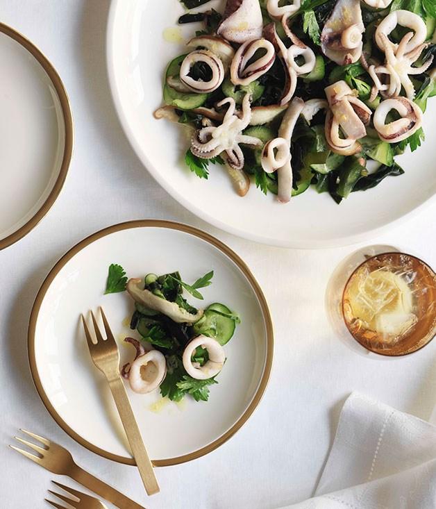 Salad of calamari and wakame with preserved lemon vinaigrette