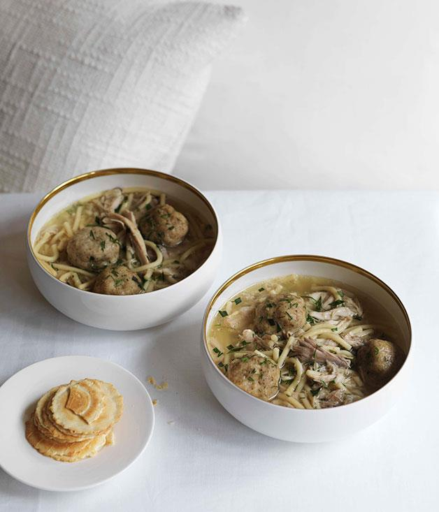 "**[Dan Hong's matzo ball soup](https://www.gourmettraveller.com.au/recipes/chefs-recipes/matzo-ball-soup-7236|target=""_blank"")**"