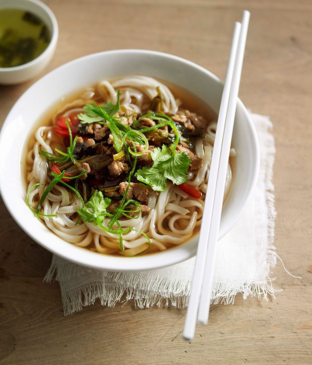 """**[Noodle soup with pork and pickled vegetables](https://www.gourmettraveller.com.au/recipes/chefs-recipes/noodle-soup-with-pork-and-pickled-vegetables-7241