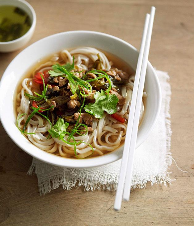 "**[Noodle soup with pork and pickled vegetables](https://www.gourmettraveller.com.au/recipes/chefs-recipes/noodle-soup-with-pork-and-pickled-vegetables-7241|target=""_blank"")**"