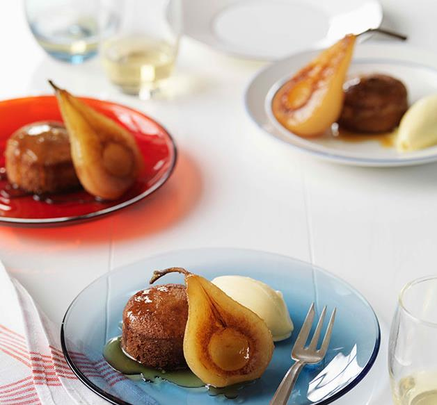 Spiced financières with poached pears and vanilla ice-cream