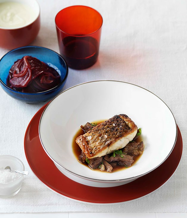 Beetroot Lyonnaise (shown with barramundi with braised oxtail)