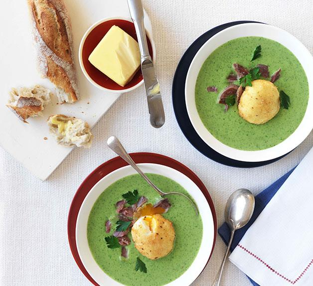 Parsley velouté with crisp poached egg and ham hock