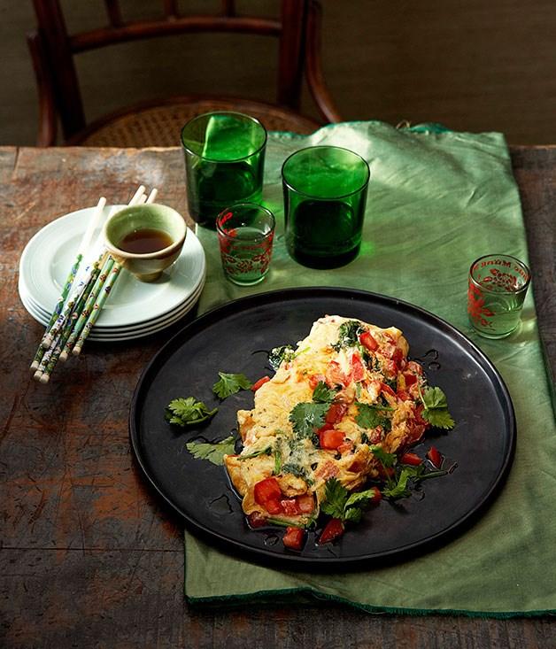 Tomato and coriander omelette
