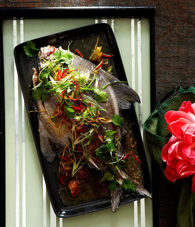 "**[Teochew steamed fish](https://www.gourmettraveller.com.au/recipes/chefs-recipes/teochew-steamed-fish-7303|target=""_blank"")**"