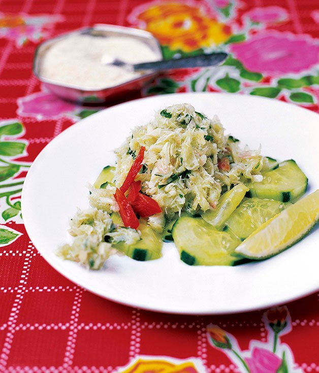 Shredded salt cod on a cucumber salad