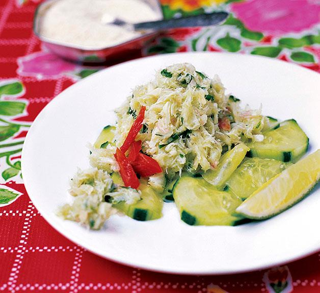 Shredded salt cod on a cucumber salad