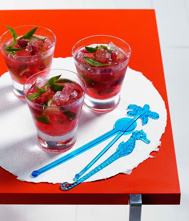 "[Raspberry and mint Mojito](https://www.gourmettraveller.com.au/recipes/chefs-recipes/raspberry-and-mint-mojito-7099|target=""_blank"")"