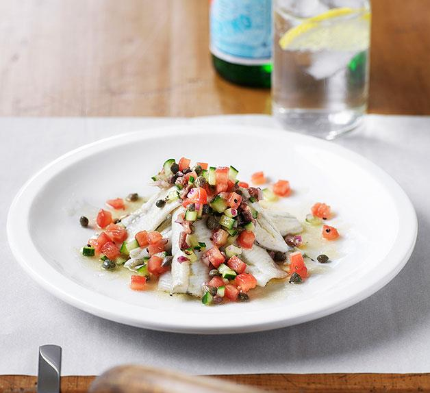Grilled garfish fillets with cucumber, tomato and anchovy salsa